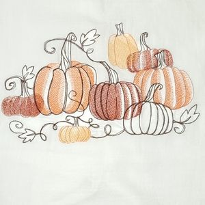 Embroidered decorative towel - fall pumpkins